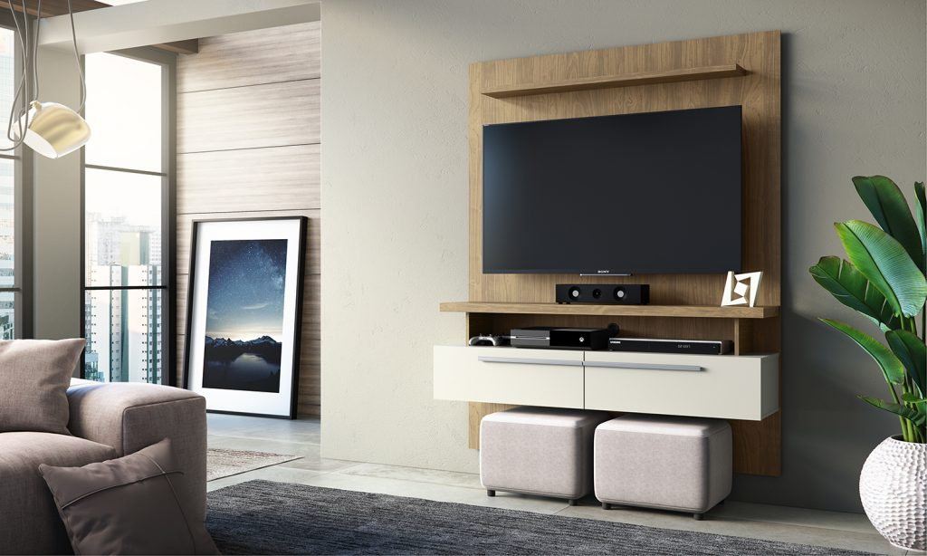 Decoração minimalista - painel para tv